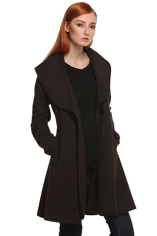 ANGVNS Women ladies Wind Coat Loose Solid Winter Long Retro Trench Coat AM001755