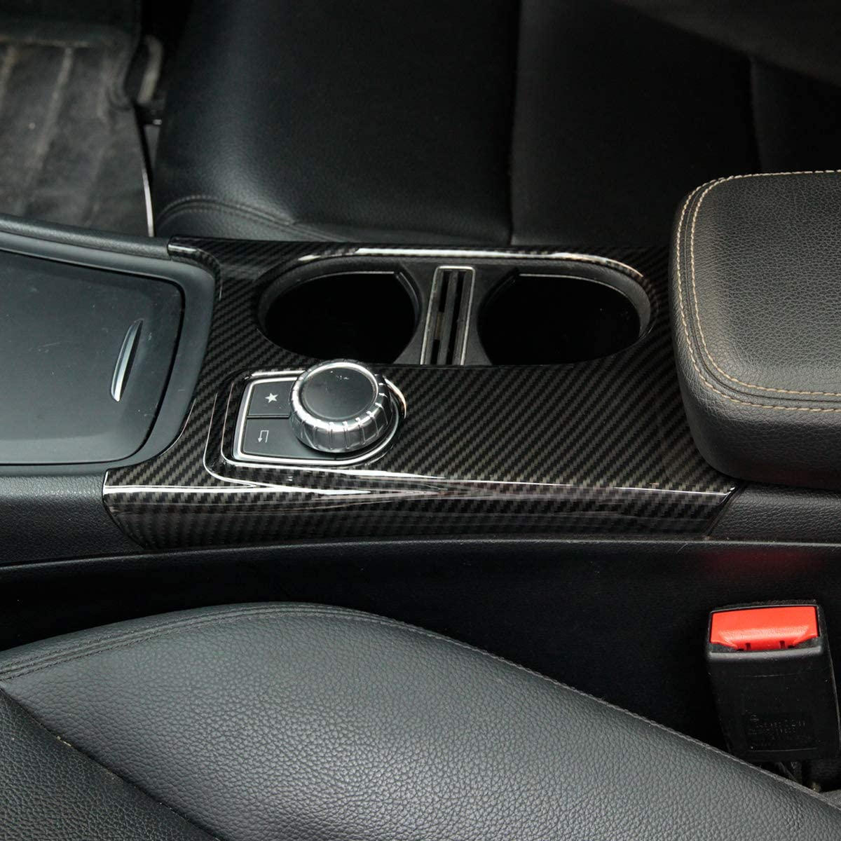 YIWANG Carbon Fiber Interior Control Cup Holder Cover Trim for Mercedes Benz A//GLA//CLA Class C117 W117 W176 X156 2012-2018 Left Hand Drive Auto Accessories