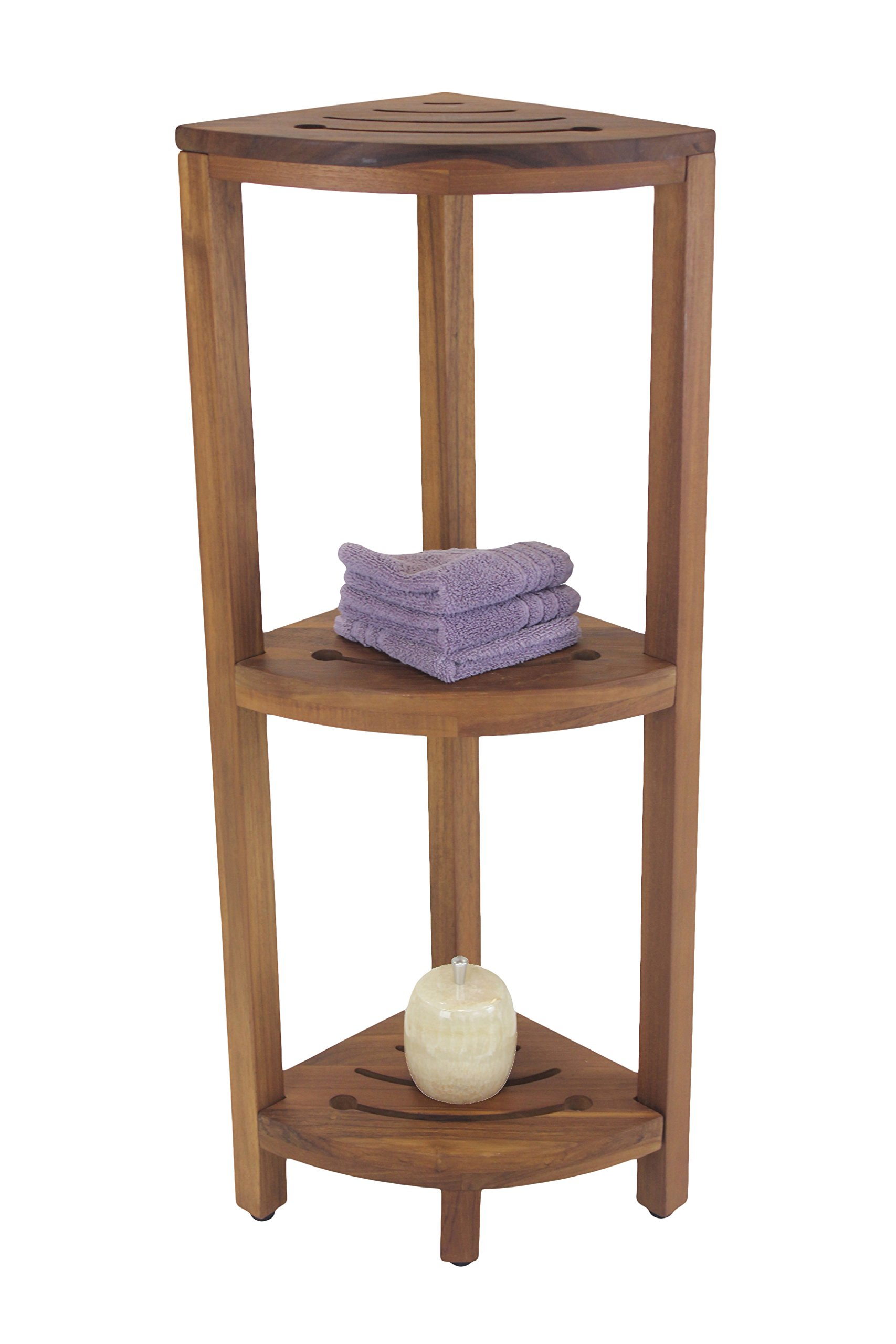 The Original Kai Corner Teak and Stainless 3 Shelf Corner Stand With Square Legs