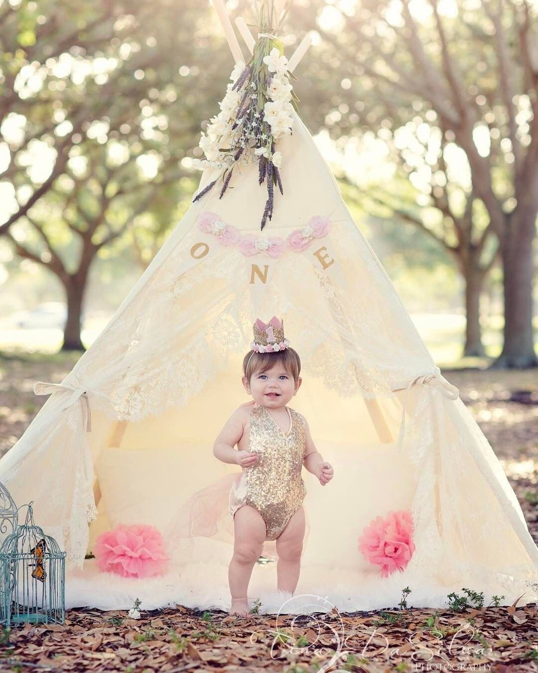 Little Dove Floral Classic Ivory Kids Teepee Kids Play Tent Childrens Play House Tipi Kids Room Decor by little dove (Image #5)