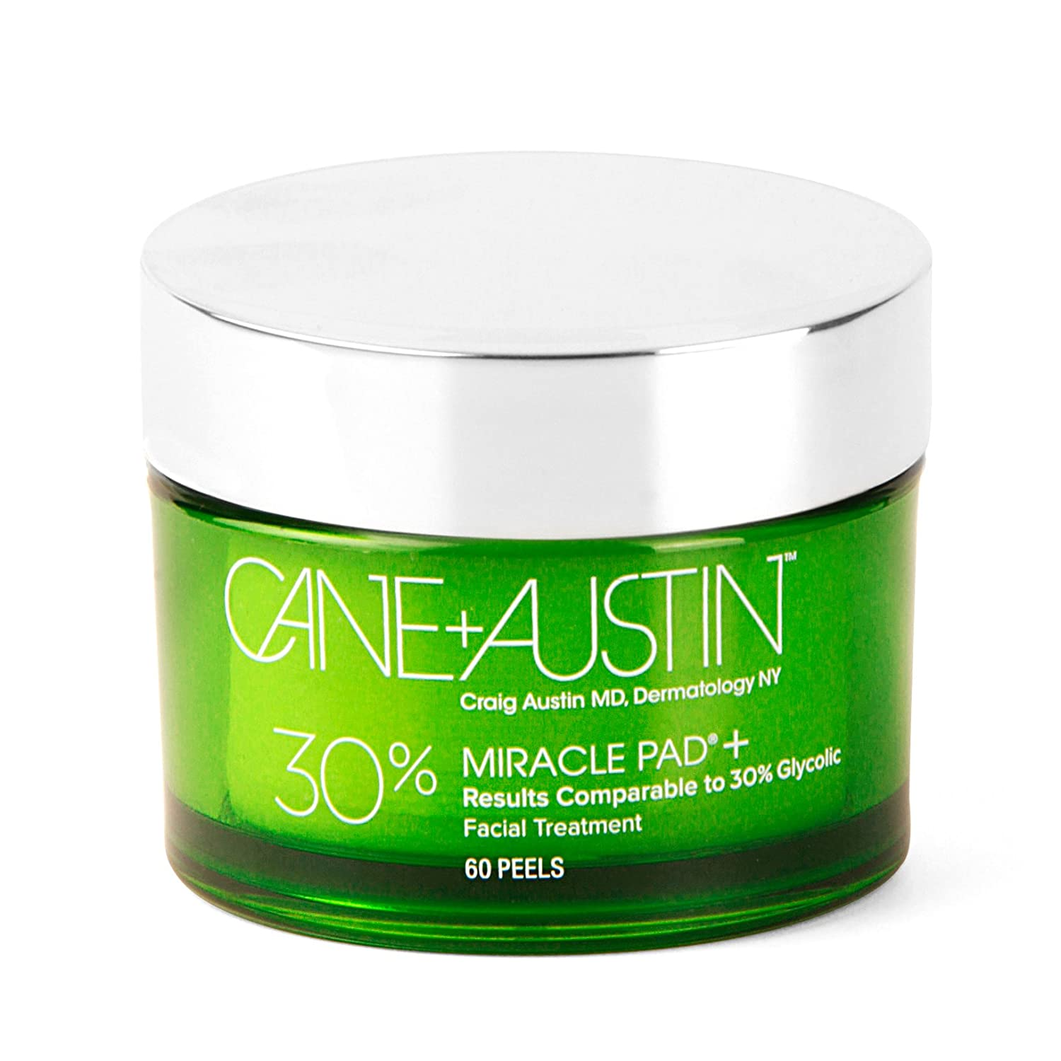CANE + AUSTIN Miracle Pad Plus, 30% Glycolic Acid Exfoliating Face Peel, 60 pads