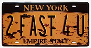 ERLOOD New York 2FAST4U, Empire State, United States,Retro Vintage Auto License Plate Tin Sign Embossed Tag Size Home Pub Bar Decor 6 X 12