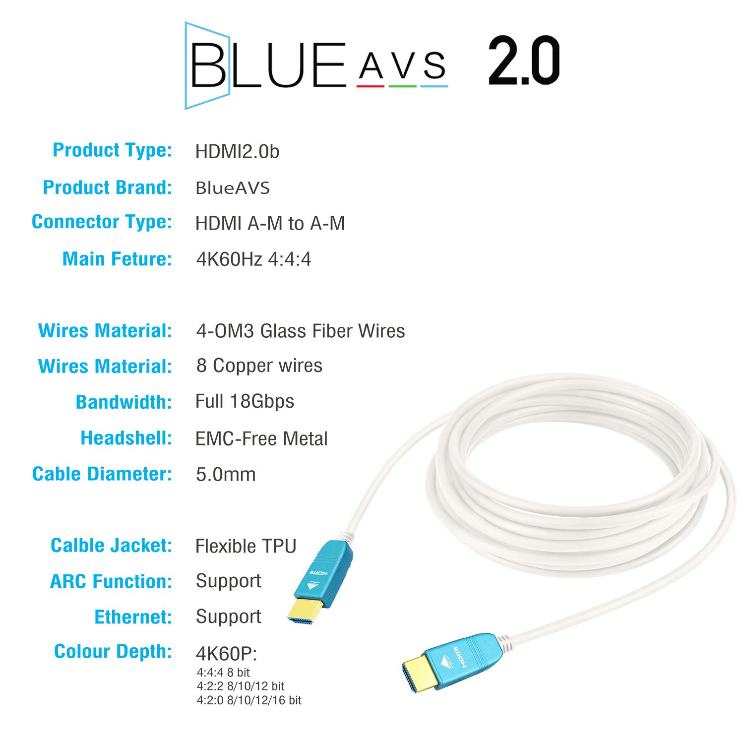 HDMI Cable 30ft, BlueAVS Fiber Optic Cable 4K 60Hz 9m HDMI 2.0b High-Speed 18Gbps Dolby Vision HDCP2.2, 3D / HDR/ARC, 4:4:4/4:2:2/4:2:0 White by BlueAVS (Image #4)