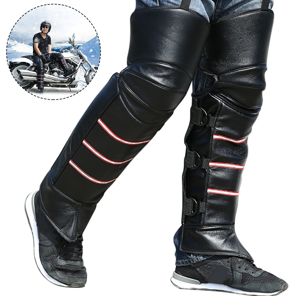 1 Pair Knee Pads Leg Warmer Thermal Lengthened Fleece Lined Windproof With Reflective Strap for Riding Biking