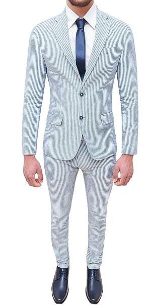 Abito completo uomo sartoriale in lino azzurro bianco slim fit elegante  estivo  Amazon.it  Abbigliamento eef1f0e8b8b
