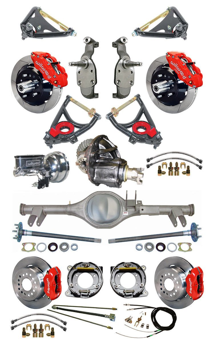 NEW SUSPENSION & BRAKE SET WITH CURRIE REAR END, AXLES, POSI-TRAC GEAR, DROP SPINDLES, WILWOOD 13''/12'' DISC BRAKES, RED CALIPERS, CYLINDER, BOOSTER, ARMS 59-64 CHEVY IMPALA BEL AIR BISCAYNE BROOKWOOD by Southwest Speed