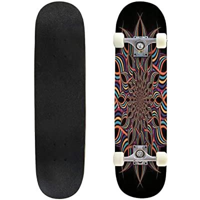 Classic Concave Skateboard Modern Psychedelic Swirl Twirl Illustration Beautiful Colorful Longboard Maple Deck Extreme Sports and Outdoors Double Kick Trick for Beginners and Professionals : Sports & Outdoors