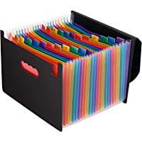 Magicfly Expandable File Folder with Lid, 24 Pocket Accordion File Organizer, A4 Letter Size Portable Rainbow Document…