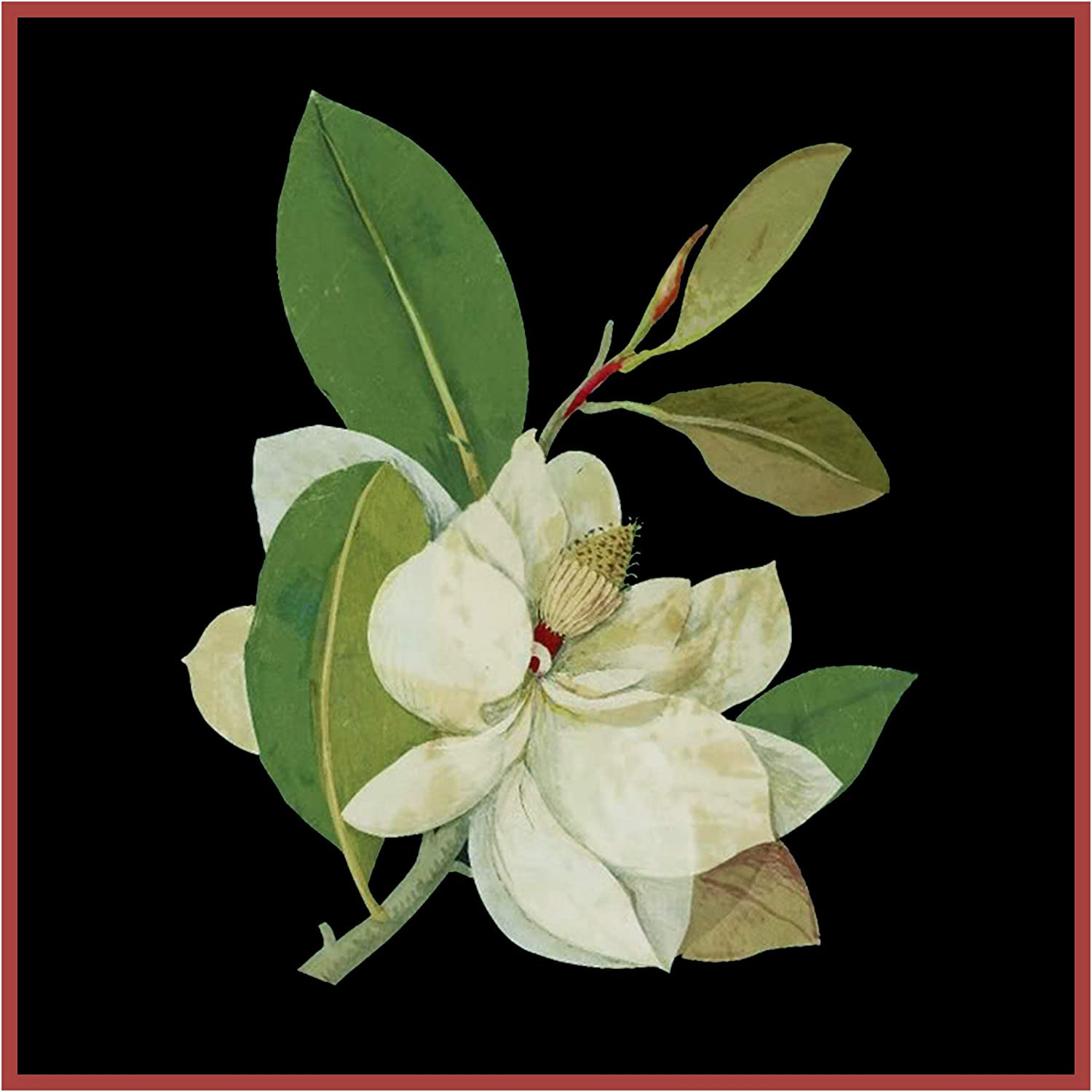 Magnolia Blossom Flowers inspired Mary Delany Counted Cross Stitch Pattern