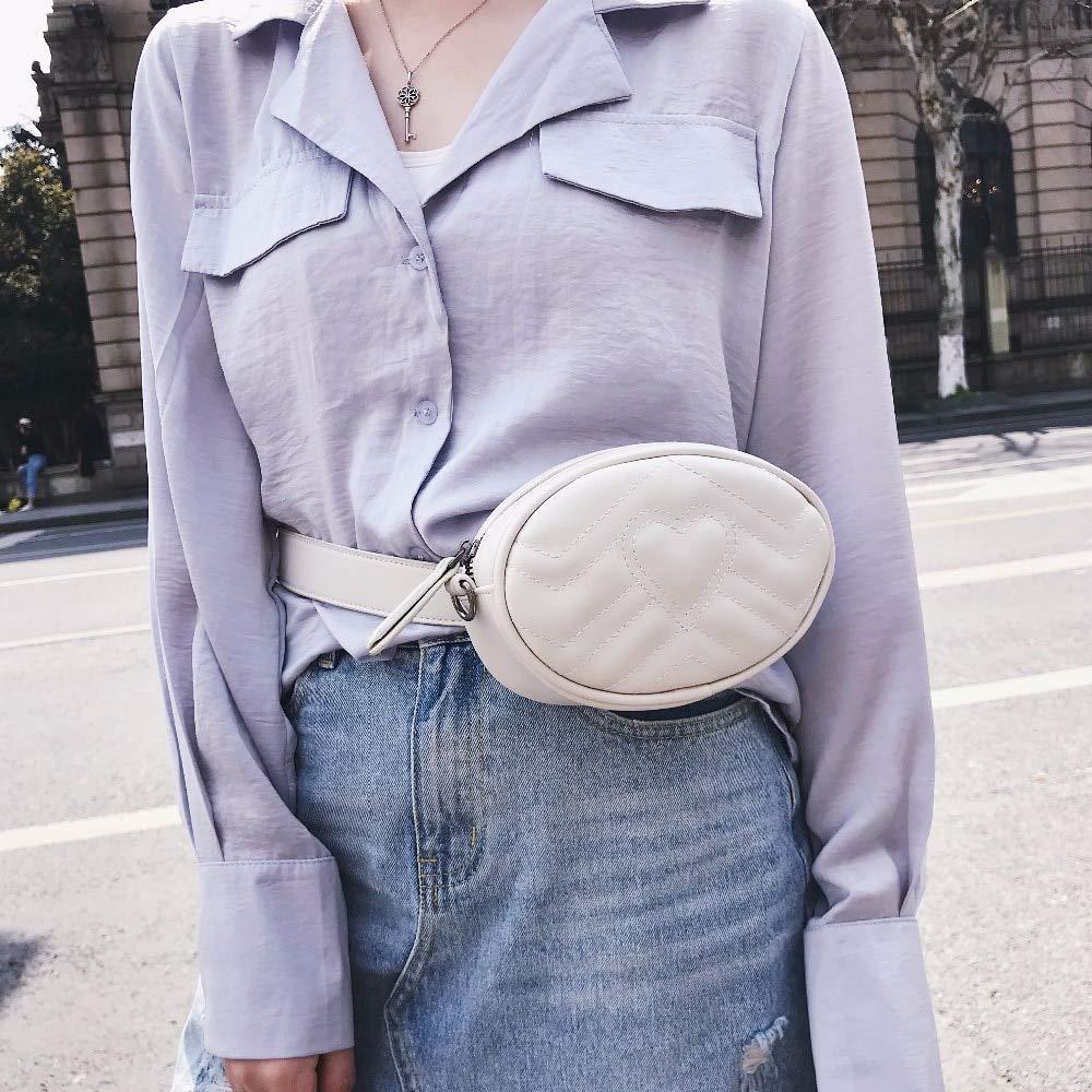Culturemart Candy Color Fanny Pack Women Heart Parttern Waist Bag PU Leather Belt Bag Crossbody Leg Bag Money Mini Pink Blue