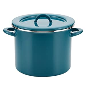 Rachael Ray 47627 12-Qt Enamel on Steel Stockpot, Quart, Teal Shimmer (Renewed)