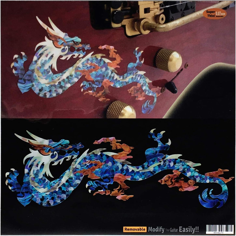 Calcomanías con incrustaciones de dragón de fuego (azul cobalto) para guitarra y bajo