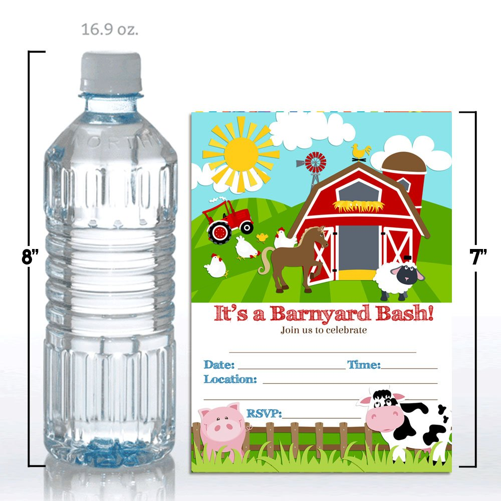 Barnyard Bash Farm and Barn Themed Birthday Party Invitations, Ten 5''x7'' Fill In Cards with 10 White Envelopes by AmandaCreation by Amanda Creation (Image #4)