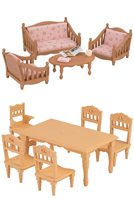 2 Unique Sets with 3 Different Pieces of Furniture (Bundled Set) - Armchair, Sofa and Dining Table with Chairs (Japan Import)