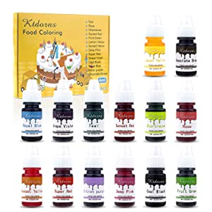 Food Coloring-14 Color Variety Kit-cake food coloring liquid Variety Kit for Food color Baking, Decorating,Fondant and Cooking, Slime Making Supplies Kit - .25 fl. oz. Bottles