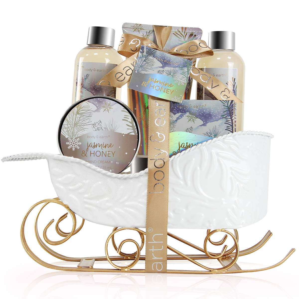 Bath and Body Set - Body & Earth Women Gifts Spa Set with Jasmine & Honey Scent, Includes Bubble Bath, Shower Gel, Soap, Body Lotion and Hand Cream. Perfect Gift Basket for Christmas