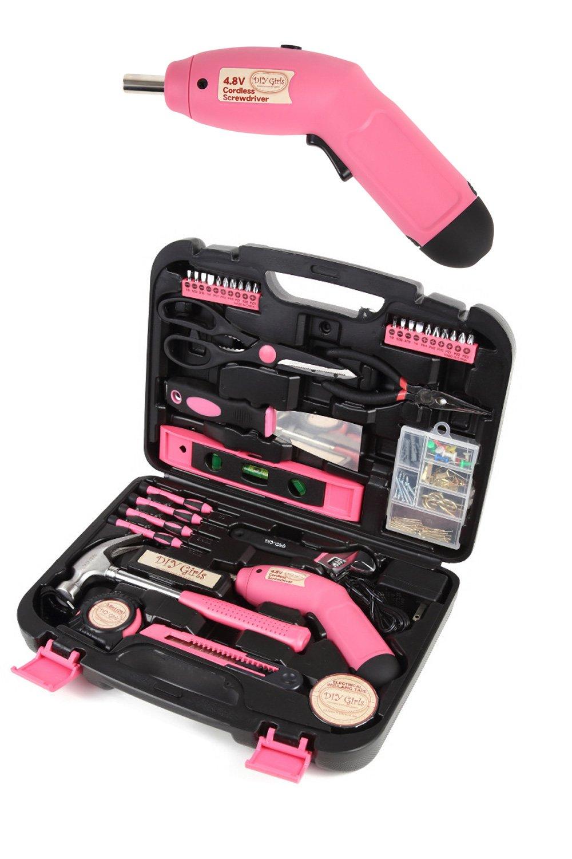 ピンクの工具セット 充電ドライバー付 33pcs+α DIY女子