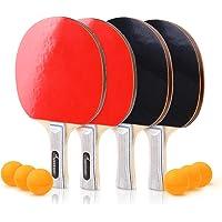 Sportneer Juego de Ping-Pong de Tenis de Mesa - Paquete 4 Raquetas/Palas Premium y 6 Pelotas de Tenis de Mesa - Caucho Esponjoso Suave - Ideal para Juegos Profesionales y recreativos 4 Jugadores