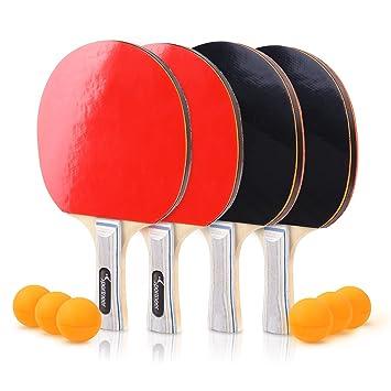 018004c45 Sportneer Juego de Ping-Pong de Tenis de Mesa - Paquete 4 Raquetas Palas  Premium y 6 ...