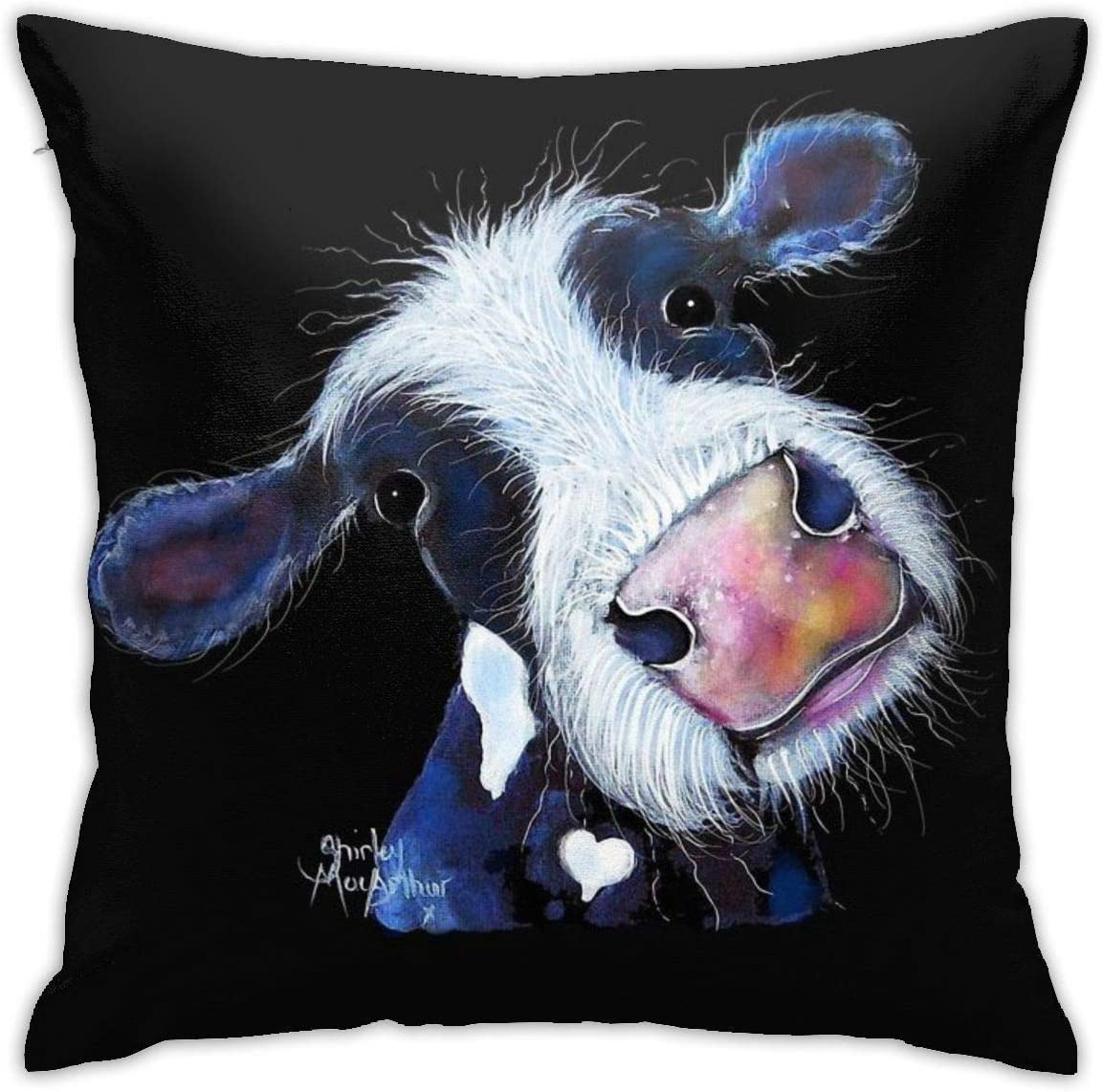 YPPDPP Cow Print ' Nosey Bertha Beetroot ' by Shirley MacArthur Square Pillow Cases Cubierta de cojín Throw Pillow Cover Funda cojine Home Bed Room Interior Decoración