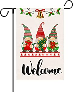 SHANGXING Merry Christmas Gnomes Garden Flag-12.4 x 18.8 Inch Double-Sided Printed Xmas Gnomes Bell Yard Burlap Banner for Home & Outdoor Decoration (Bell)