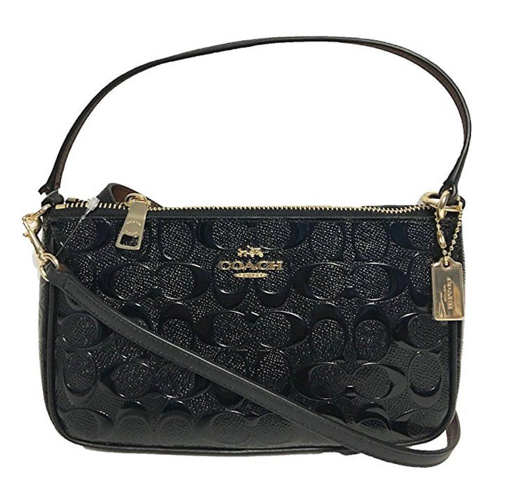Coach Women's Signature Small Debossed Top Handle Crossbody Bag (IM/Black/Black)