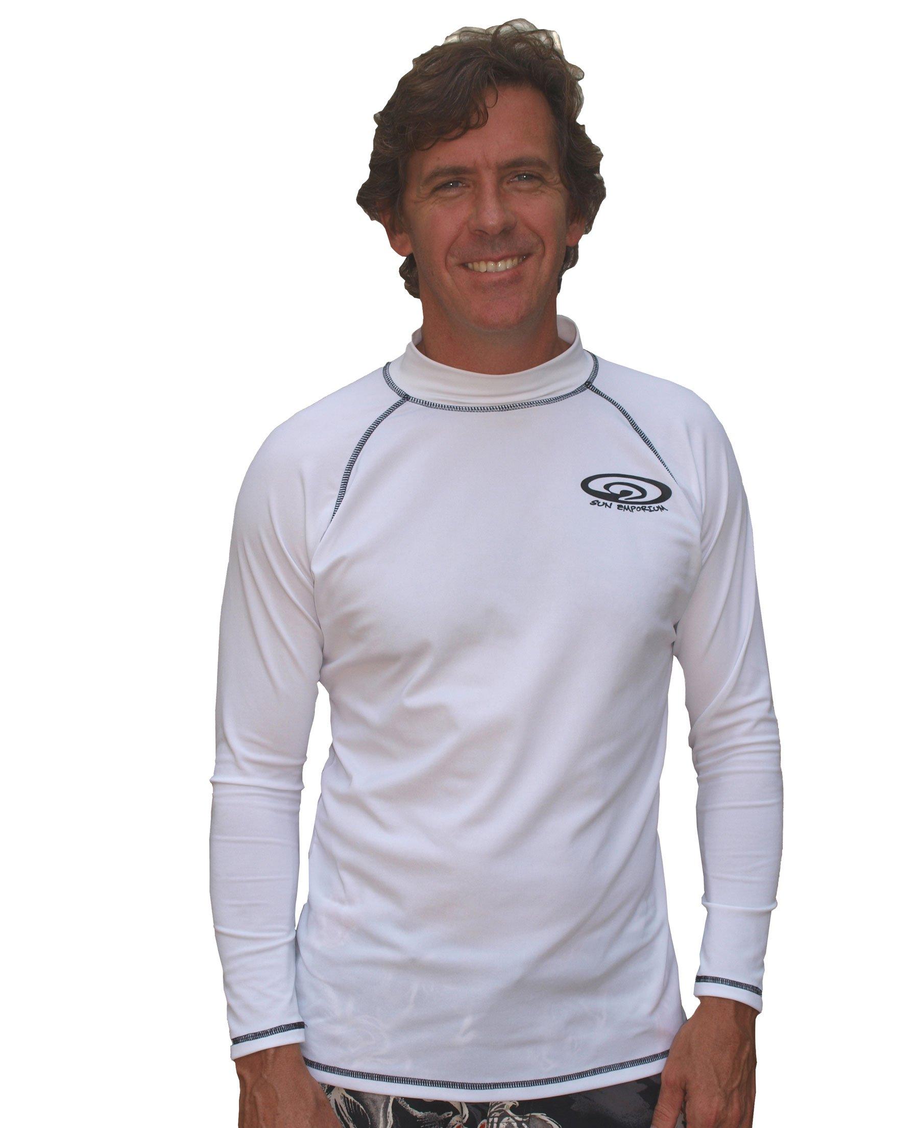 Sun Emporium White Long Sleeve Men's & Women's Rash Guard Swim Shirt (5XL)