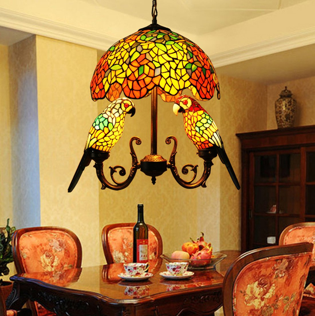 Makenier Vintage Tiffany Style Stained Glass 16 Inch Wisteria + Double  Parrots Pendant Hanging Lamp     Amazon.com
