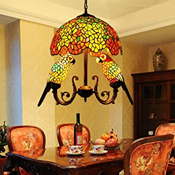 Makenier Vintage Tiffany Style Stained Glass 16 Inch Wisteria Double Parrots Pendant Hanging Lamp