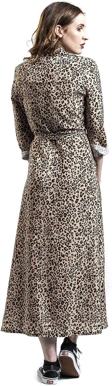 Hailys Maxikleid Madi mit Leoparden Print Knopfleiste Bindegürtel Braun