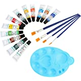 DOZEN Artist Quality 12ml Oil Color Tubes Set with 4 Paint Brushes & Palette, 12 Colors Set