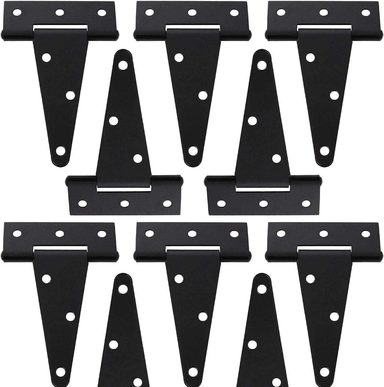 10 Pack 4 Inch T-Strap Shed Heavy Duty Hinge Door Barn Gate Hinge Gate Strap Hinge Fence Hinge Garden Door Hinges Black Wrought Hardware Iron