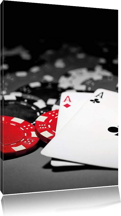 Juego de cartas de póquer mesa negro/blanco en gran angular lienzo, XXL enormes imágenes completamente