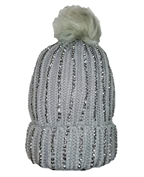 24211dcb12f KGM Accessories Luxury Knitted Diamonte bobble hat with Faux fur pom pom  grey