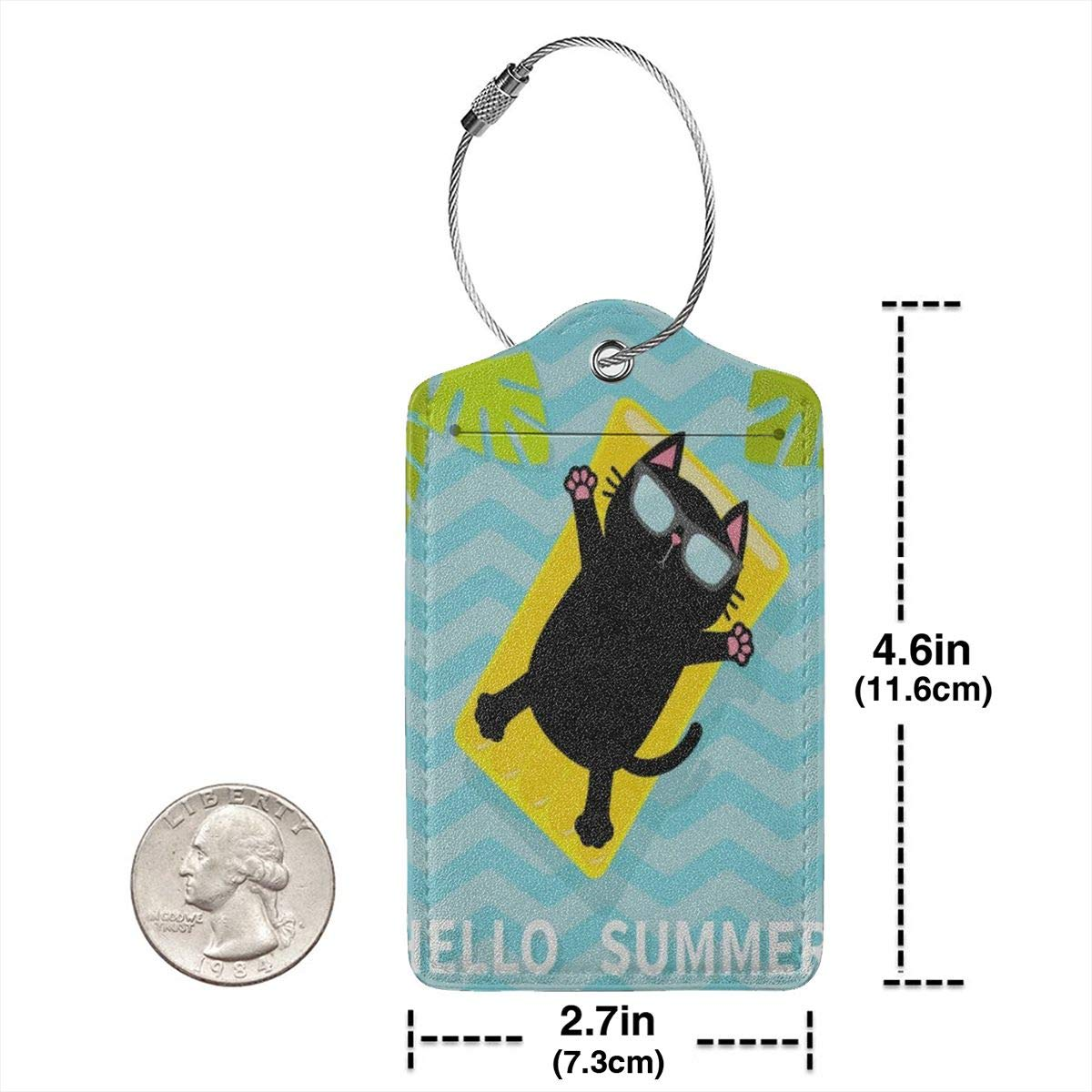 Hello Summer Funny Cat Floating On Pool Water Leather Luggage Tags Personalized Travel Accessories With Privacy Flap