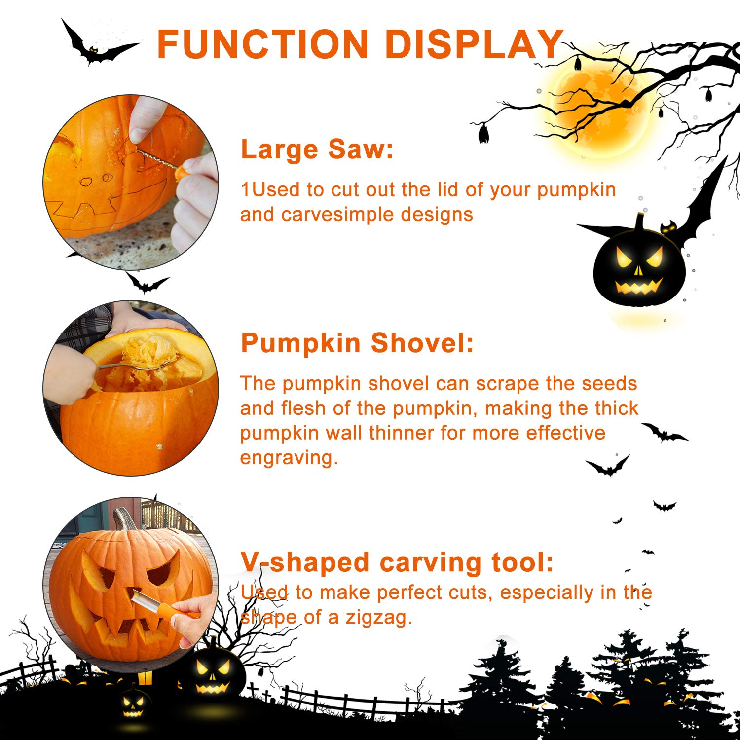 Pumpkin Carving Kit, 4 Pieces Heavy Duty Stainless Steel Pumpkin Carving Tools with 10 Carving Stencils, Ergonomic Design, Perfect for Adult and Children Halloween Decoration by Fantech (Image #4)
