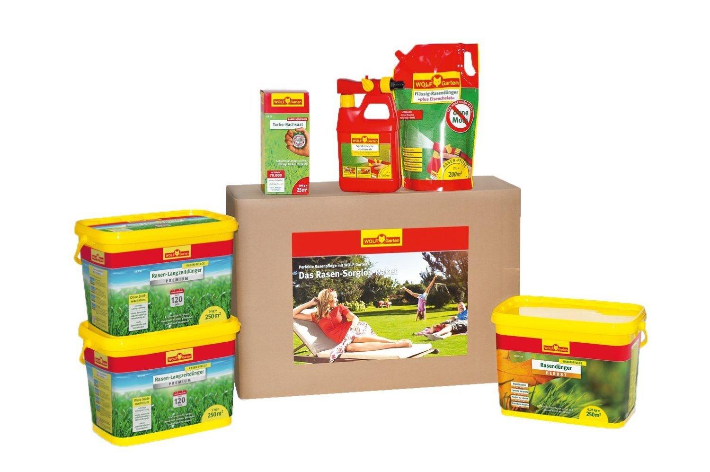 WOLF 3734721 Rasen-Sorglos-Set für 250 m³ Rasendünger Set