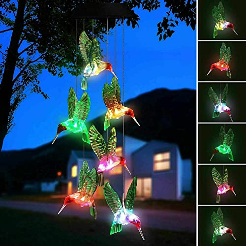 Hummingbird Solar Light, Epicgadget Solar Bird Wind Chime Color Changing Outdoor Solar Garden Decorative Lights for Walkway Pathway Backyard Christmas Decoration Parties Green Wing Hummingbird