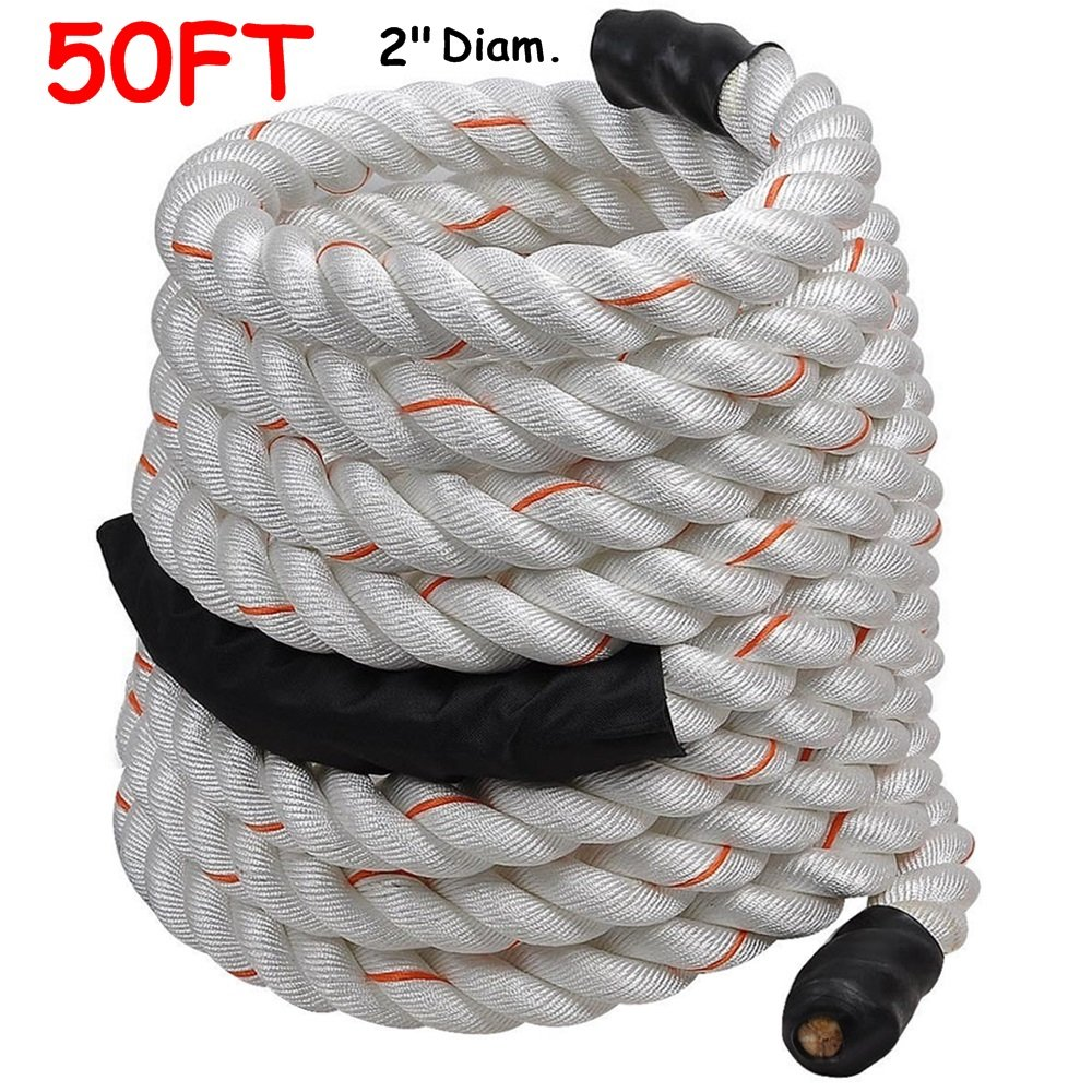 2'' Poly Dacron 50ft/White Battle Rope Workout Strength Training Undulation TKT-11 by TKT-11