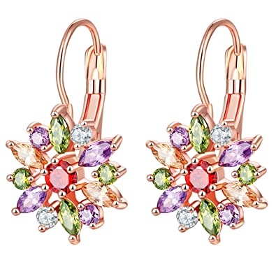 b1eed0cfb56e4 Peora Multicolor Swiss Cubic Zirconia 18K Rose Gold Plated Clip-on Floral  Hoop Earrings for Women