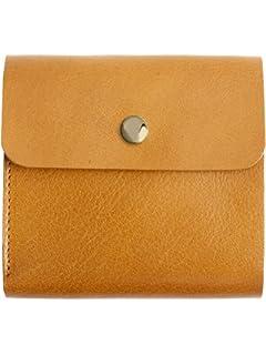 00eb684b295a MIRACOLO イタリアンレザー 薄い 二つ折り財布 本革 フラップボタン 薄型 ミニ財布 コンパクト ウォレット
