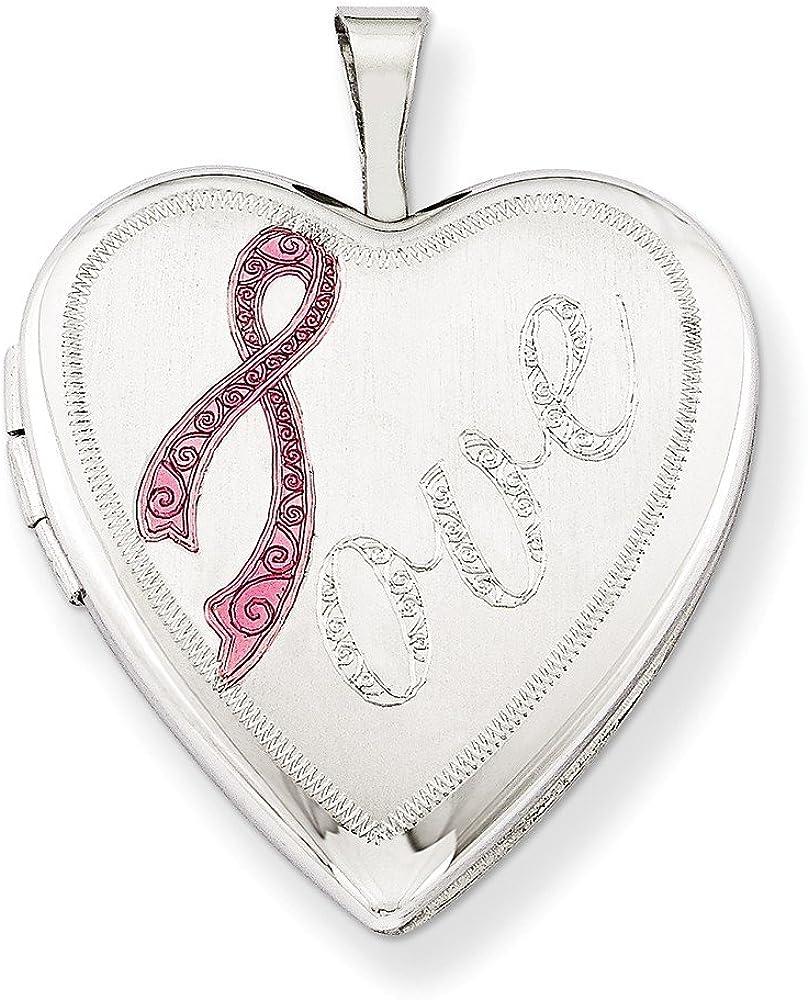 .925 Sterling Silver Satin Pink Ribbon Love Heart Locket Charm Pendant