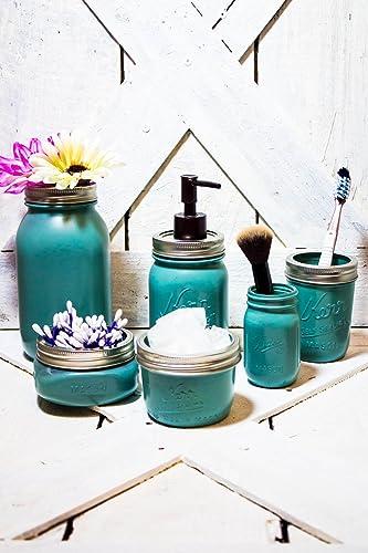 Teal Mason Jar Bathroom Set | Rustic Bathroom Decor | Teal Bathroom Storage  Set | Set