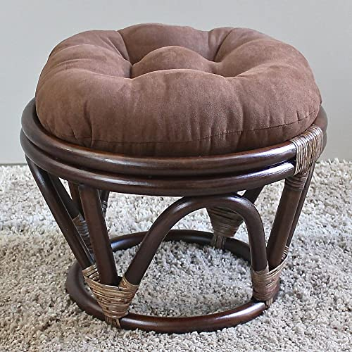 International Caravan Furniture Piece Rattan Ottoman with Micro Suede Cushion