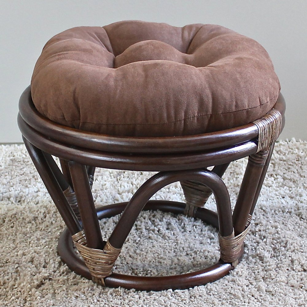 International Caravan Furniture Piece Rattan Ottoman with Micro Suede Cushion