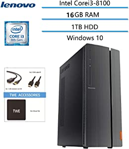 Lenovo Ideacentre 510A Business Desktop Newest Computer, Intel Core i3-8100 Processor (6M Cache, 3.6GHz), 16GB RAM, 1TB HDD, HDMI, DVD-RW, Wireless-AC, Windows 10, TWE Accessory Bundle