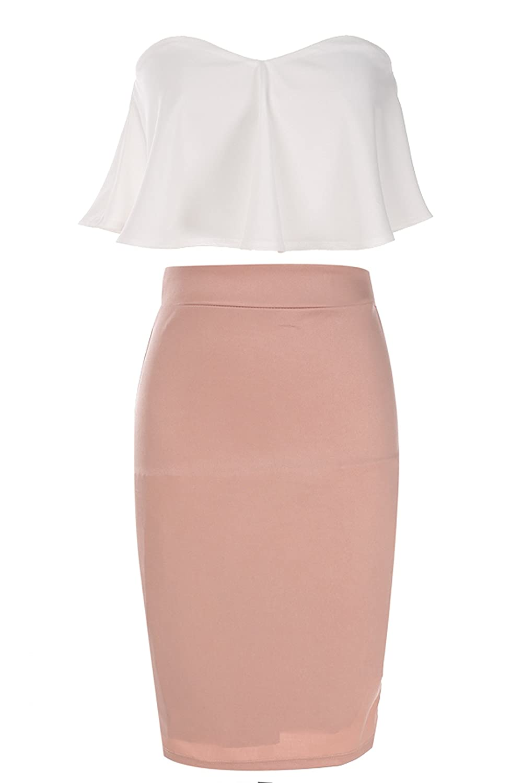 Women's Lotus Leaf Package Hip Boob Tube Top Bustier Corset Pencil Skirt Suits (L)