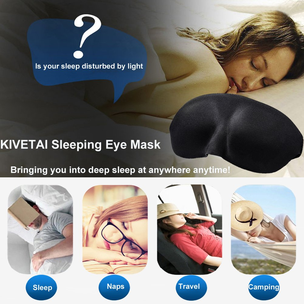 KIVETAI Sleep Mask 3D Eye Mask for Sleeping with Anti-noise Earplugs Super Soft Blindfold Eye Shades for Men Women Students Using in Home Travel Office Naps Shift Work