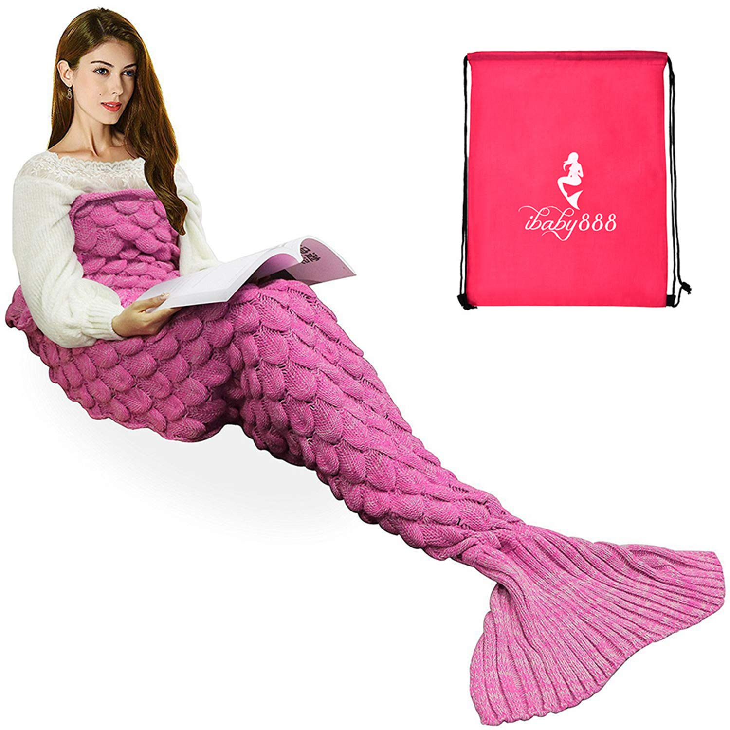 iBaby888 Wearable Mermaid Tail Blanket Crochet, All Seasons Warm Knitted Bed Blankets Sofa Living Room Quilt for Kids and Adults, Fish-Scales Pattern, 70.9'' x 35.5'' (180 x 90cm), Pink