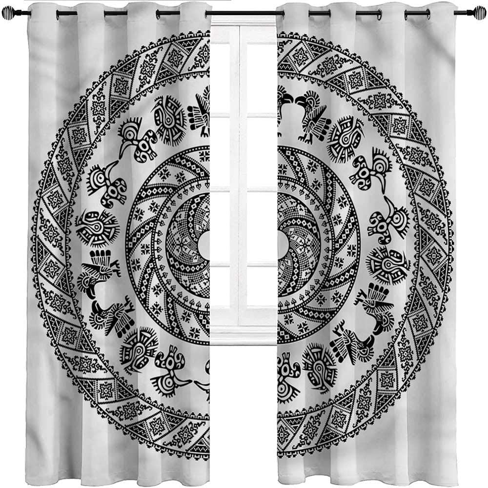 UNOSEKS LANZON Black Out Curtains Aztec, Peruvian Ornate Spiral Motif Window Treatment Set for Bedroom and Living Room (2 Panels, W48 x L84 Inch)